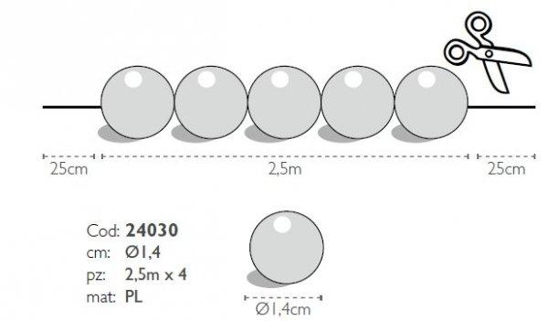 Modecor - sznur pomarańczowych pereł ozdobnych 2,5 m