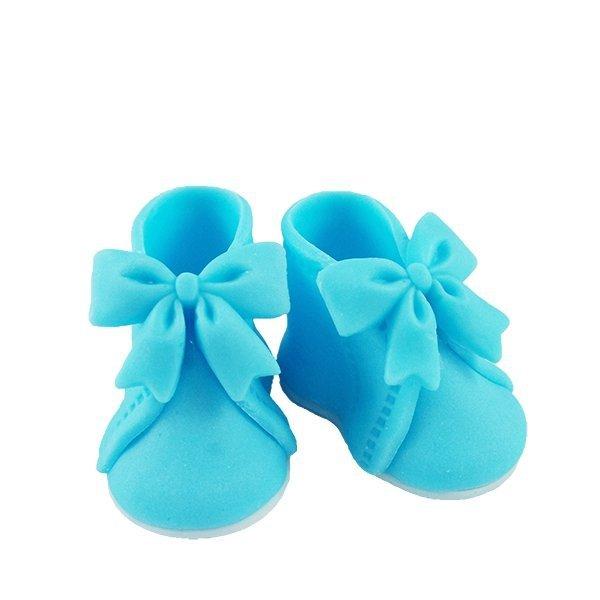 Buciki z kokardką - niebieskie - dekoracja tortu na chrzest 6 par
