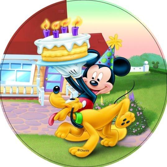 Modecor - opłatek na tort okrągły Mickey Mouse & Pluto Urodziny
