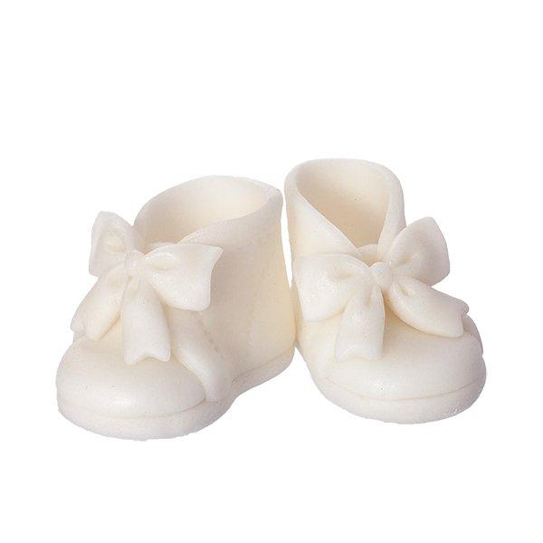 Buciki z kokardką - białe - dekoracja tortu na chrzest 6 par