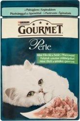 GOURMET Perle - Mini fileciki pstrąga ze szpinakiem w sosie 85g. Dla dorosłych kotów.