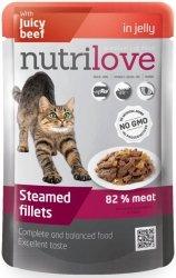 Nutrilove Premium Gotowane na parze delikatne fileciki z wołowiną w galaretce dla kota 85g