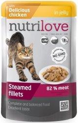 Nutrilove Premium Gotowane na parze delikatne fileciki z kurczakiem w galaretce dla kota 85g