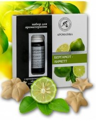 Aromatherapy Set with Pure Essential Oils and Ceramic Asterisks Bergamot & Lime