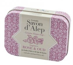 Rose & Oud Soap Bar in Metal Box, Alepia, 100 g
