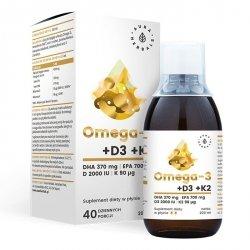 Omega-3 (370 DHA) + D3 (2000IU) + K2MK7, Aura Herbals, 200 ml