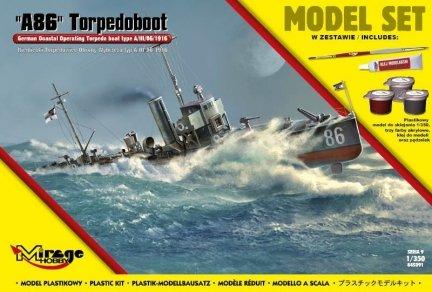 Mirage 845091 1/350 [MODEL SET]  'A86' Torpedoboot  (Niemiecki Torpedowiec Obrony Wybrzeża typ A/III/56/1916)