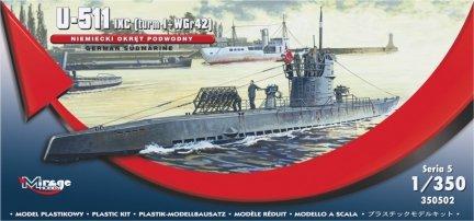 Mirage 350502 1/350 U-511 (IXC TURN I + WGr42) Niemiecki Okręt Podwodny