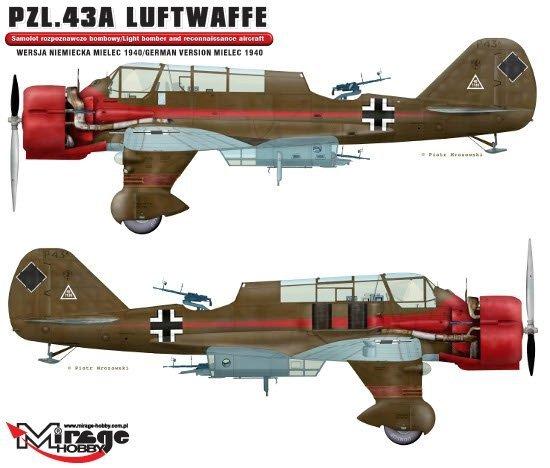 Mirage 481311 1/48 PZL.43A LUFTWAFFE 'Wersja Niemiecka Mielec 1940'