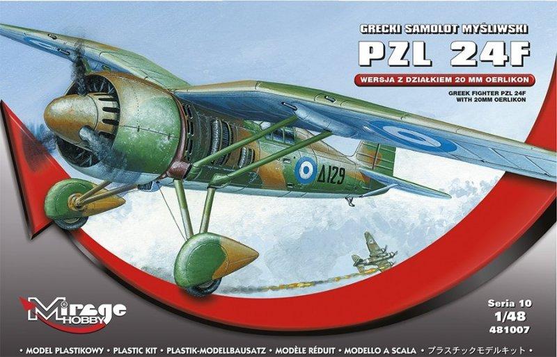 Mirage 481007 1/48 PZL P.24F Grecki Samolot Myśliwski z działkiem 20 mm Oerlikon [zawiera części z Białego Metalu]
