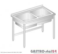 Stół z dwoma zlewami DM 3009 szerokość: 600 mm (1000x600x850)