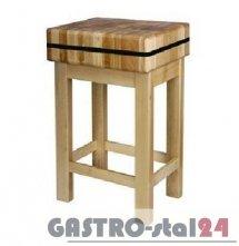 Kloc masarski drewniany na podstawie drewnianej 400x400x150