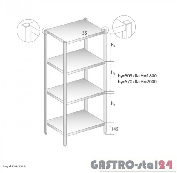 Regał magazynowy z półkami pełnymi DM 3319 szerokość: 700 mm, wysokość: 2000 mm  (600x700x2000)
