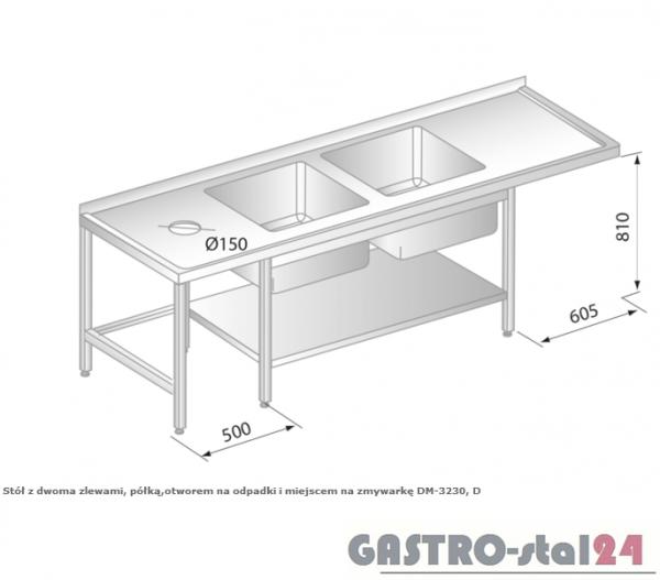 Stół z dwoma zlewami, półką, otworem na odpadki i miejscem na zmywarkę DM 3230 szerokość: 600 mm (2300x600x850)