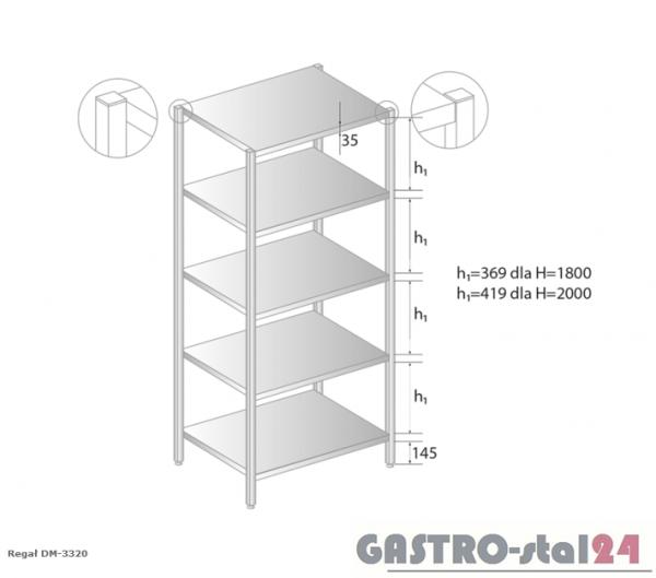Regał magazynowy DM 3320 szerokość: 600 mm, wysokość: 1800 mm (600x600x1800)