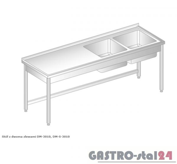 Stół z dwoma zlewami DM 3010 szerokość: 600 mm (1400x600x850)