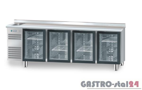 Stół chłodniczy z drzwiami przeszklonymi z zlewozmywakiem z płytą wierzchnia nierdzewną DM 91008 2325x700x850