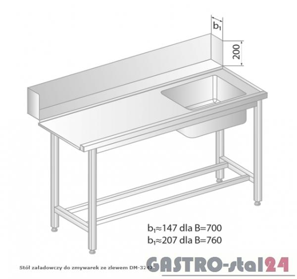 Stół załadowczy do zmywarek ze zlewem DM 3247 szerokość: 700 mm (1000x700x850)