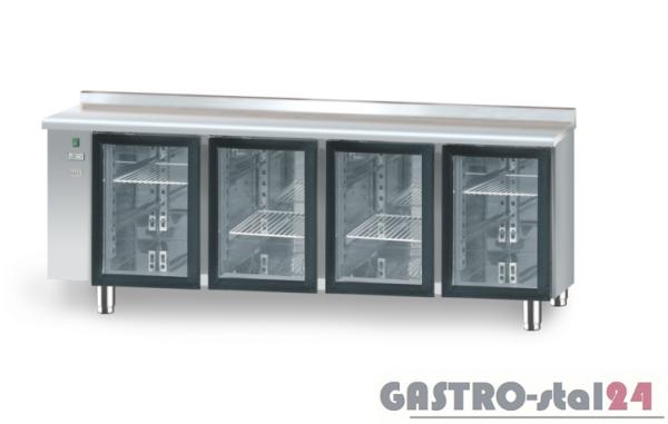 Stół chłodniczy z drzwiami przeszklonymi bez agregatu z płytą wierzchnią nierdzewną DM 90008 2125x700x850