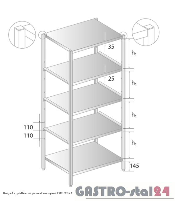 Regał z półkami przestawnymi DM 3321 szerokość: 500 mm, wysokość: 2000 mm  (600x500x2000)