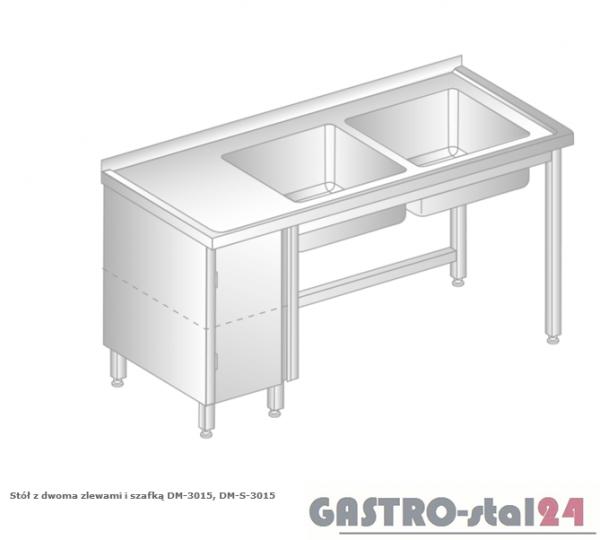Stół z dwoma zlewami i szafką DM 3015 szerokość: 700 mm (1400x700x850)