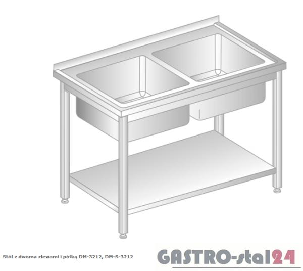 Stół z dwoma zlewami i półką DM 3212 szerokość: 700 mm (1000x700x850)