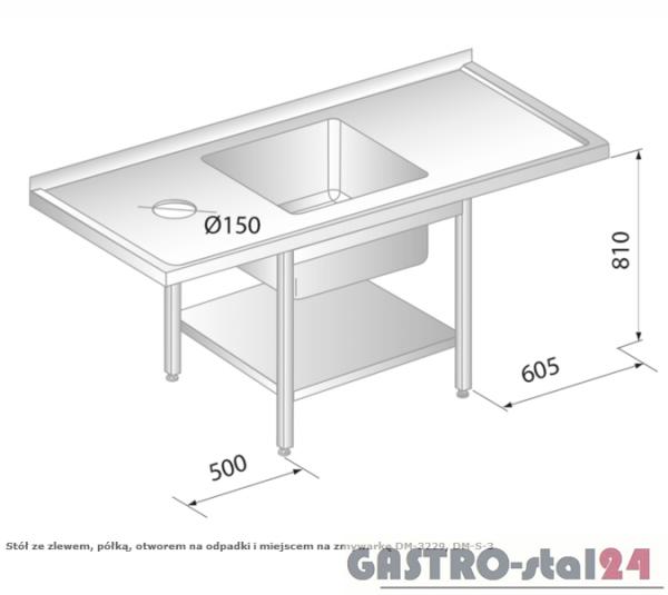 Stół ze zlewem, półką, otworem na odpadki i miejscem na zmywarkę DM 3229 szerokość: 600 mm  (1700x600x850)