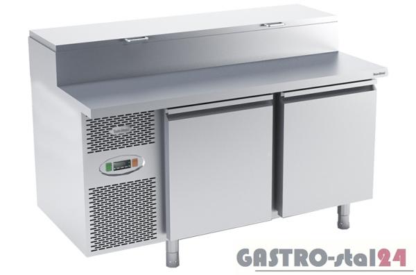 Stół chłodniczy do przygotowywania pizzy z płytą nierdzewną płaską DM 94048 1475x800x850/1030