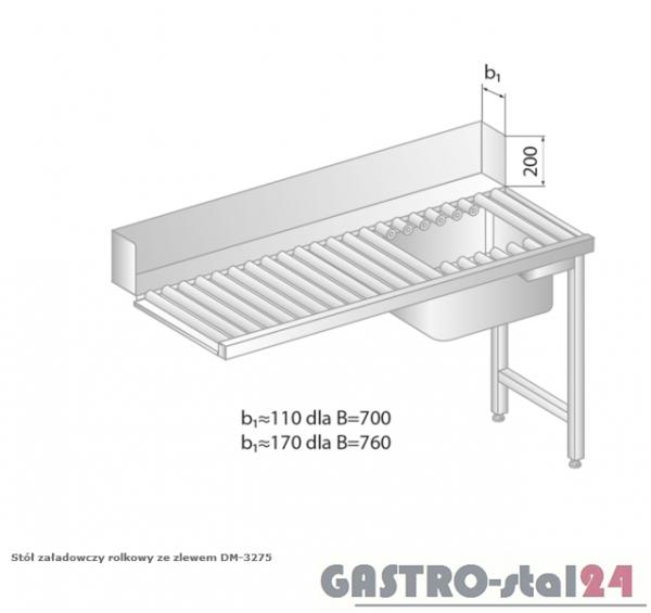 Stół załadowczy rolkowy ze zlewem DM 3275 szerokość: 700 mm (1000x700x850)