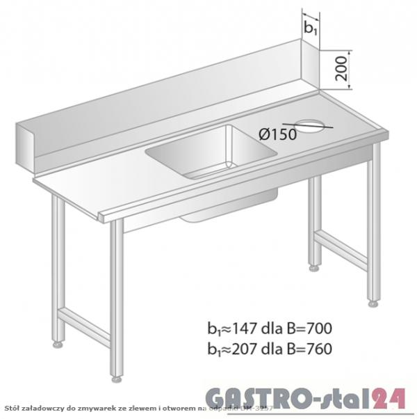 Stół załadowczy do zmywarek ze zlewem i otworem na odpadki DM 3257 szerokość: 700 mm (1200x700x850)