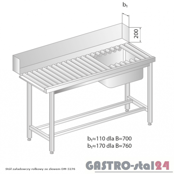 Stół załadowczy rolkowy ze zlewem DM 3276 szerokość: 760 mm (1200x760x850)