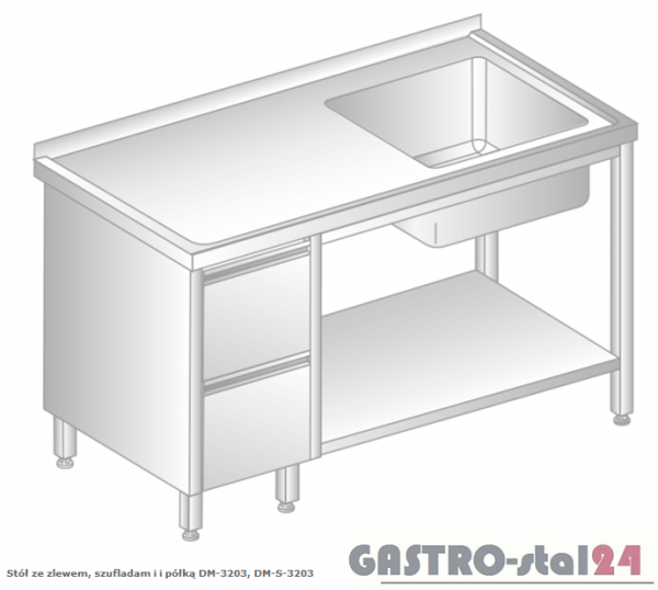 Stół ze zlewem, szufladami i półką DM 3203 szerokość: 700 mm  (1000x700x850)