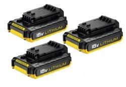 Zestaw 3 baterii akumulatorów wsuwanych Stanley LI-ION 18V 2.0AH 3xFMC687L