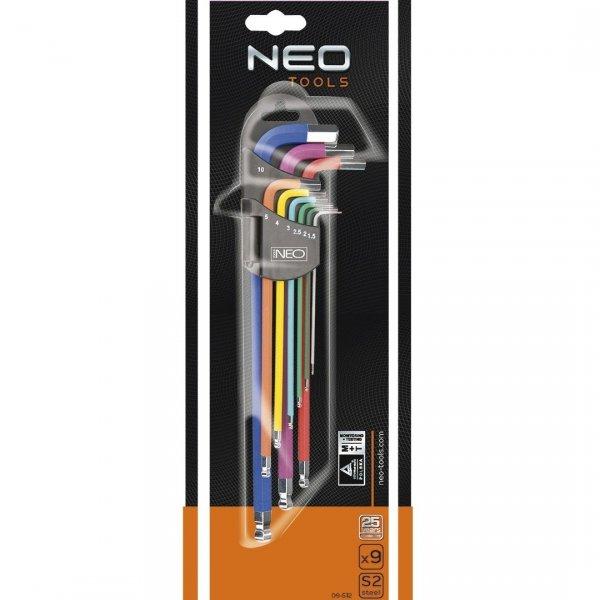 Klucze sześciokątne NEO TOOLS  09-512  1,5-10 mm, zestaw 9 szt.