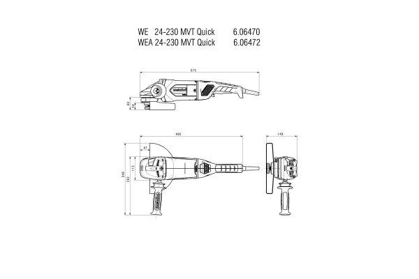 Metabo Szlifierka kątowa WE 24-230 MVT Quick, 2400 W z wyłącznikiem czuwakowym
