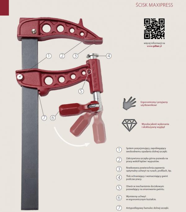 Ścisk stolarski Maxipress R Piher 30cm 10kN P61030 40x10mm