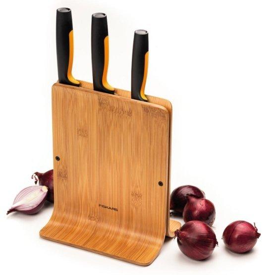 Fiskars Zestaw 3 noży w bloku bambusowym Functional Form 1057553
