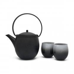 Bredemeijer SENDAI Dzbanek Żeliwny - Zaparzacz do Herbaty 1,2 l Czarny + 2 Porcelanowe Czarki