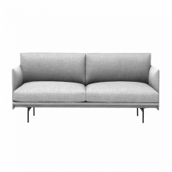 Muuto OUTLINE Sofa 2-Osobowa - Jasnoszara - Tkanina Vancouver 14 / Czarne Nogi