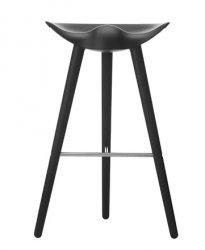 by Lassen ML42 Krzesło Barowe -- Hoker 77 cm Czarny / Poprzeczka Srebrna