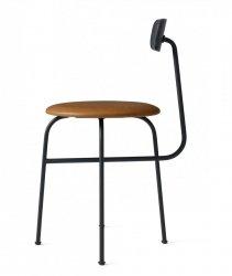 Menu AFTEROOM Krzesło Tapicerowane 4 Nogi - Czarne - Skóra Cognac