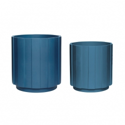 Hübsch PLANTER Donica do Kwiatów 2 Szt. Niebieska - Petrol Blue