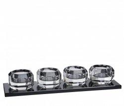 Lyngby Glass KRYSTAL Kryształowy Świecznik Tealight - Przezroczysty / Czarna Podstawa