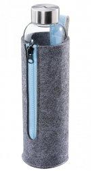 Cilio ACQUA Szklana Butelka na Wodę z Filcowym Pokrowcem 700 ml Azzurro Błękitna