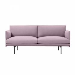 Muuto OUTLINE Sofa 2-Osobowa - Różowa - Tkanina Fiord 551 / Czarne Nogi