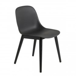 Muuto FIBER SIDE Krzesło z Drewnianą Ramą - Czarne