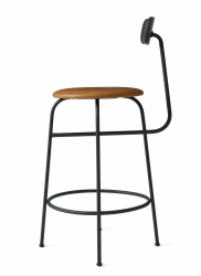 Menu AFTEROOM Stołek Krzesło Barowe 92 cm - Hoker Tapicerowany Czarny - Skóra Cognac