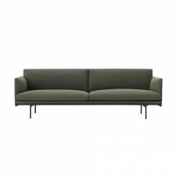 Muuto OUTLINE Sofa 3-Osobowa - Ciemnozielona - Tkanina Fiord 961 / Czarne Nogi