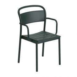Muuto LINEAR Krzesło Metalowe z Podłokietnikiem - Ciemnozielone