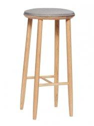 Hübsch OBAR Krzesło Barowe 72 cm Hoker Dębowy z Szarym Siedziskiem